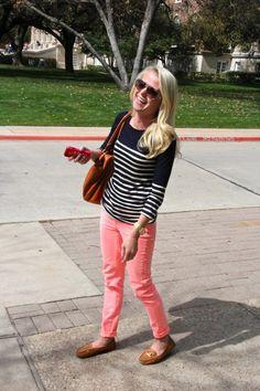 pink + navy stripes + tan loafers teacher style teacher clothes
