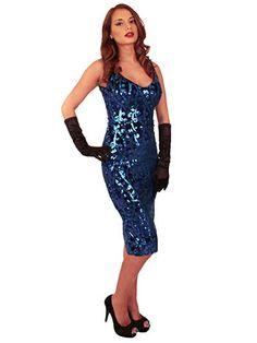 Shimmery blue sequined velvet wiggle dress #bluevelvetvintage