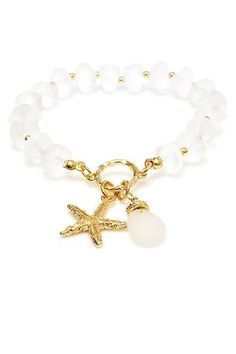 Gold And White Beaded Starfish Charm Stretch Bracelet