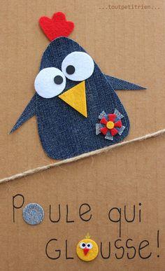 Poule qui glousse!! #jeans #recycle www.toutpetitrien.ch et www.pinterest.com/fleurysylvie