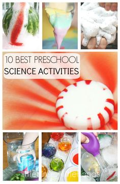 10 Best Back to School Preschool Science Activities. Simple ideas to introduce chemical reactions, physics, water science, colors and more. Hands-on activities that include sensory play and fine motor skills with preschool science activities.