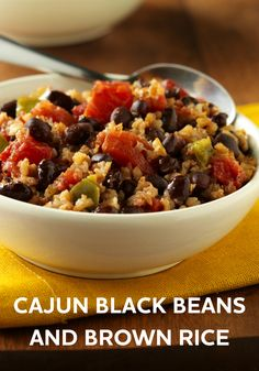 Cajun Black Beans and Brown Rice will spice up any meal. Try this easy recipe for dinner tonight! Cajun-style spicy black beans and brown rice create a memorable meatless meal only minutes away Black Bean Recipes, Brown Rice Recipes, Brown Recipe, Cajun Recipes, Cooking Recipes, Beans Recipes, Cajun Food, Budget Recipes, Skillet Recipes