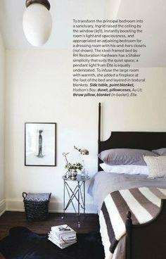 Canadian House & Home, Feb/14 issue.  Steel-framed bed from Restoration Hardware; Lighting, Elte.