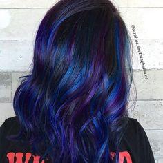 20 Awesome Blue Black Hair Looks To Raise Charm Black Hair With Blue Highlights, Hair Color Highlights, Hair Color Blue, Blonde Color, Purple Hair, Colored Hair, Purple Makeup Looks, Lob Haircut, Edgy Hair