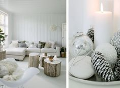 Scandinavian Christmas.  Love the painted tops of the wood trunk coffee tables.