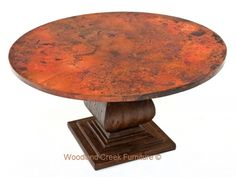 Round Copper Table Heavy Wood Pedestal Base by Woodland Creek Furniture in Custom Made Sizes.