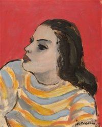 Girl on red by Janusz Maria Brzeski