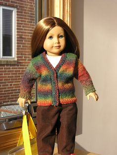 V neck sweater cardigan and fingerless mittens for american girl dolls free knit pattern