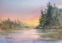 Sunset at the Lake 4in X 6in watercolour painting by Ken Crawford