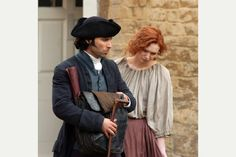 Aidan Turner as Ross Poldark and Demelza, played by Eleanor Tomlinson - filming in Corsham, May 2014