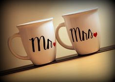 Items similar to READY TO SHIP - Mr & Mrs coffee mugs. great gift for the newly engaged couple of for you and your Mr! on Etsy Couple Mugs, Mild Soap, Mr Mrs, Great Gifts, My Etsy Shop, Cricut, Gift Ideas, Coffee, Tableware
