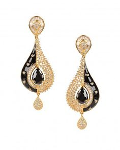 Tear Drop Shape Earrings with Black Stone