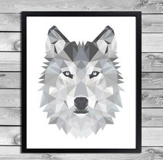 Printable Art Poster Print - Black White Grey Wolf Illustration Geometric Animals Cool Kids Room Interior Wall Decoration Digital Download