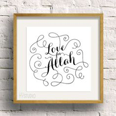 Instant Download Love for Allah. Islamic phrase par inmystudioo