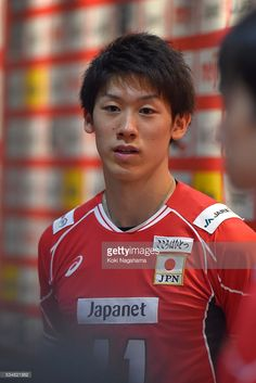 Yuki Ishikawa #11 of Japan talks to the media in the mixed zone after winning the Men's World Olympic Qualification game between Japan and Venezuela at Tokyo Metropolitan Gymnasium on May 28, 2016 in Tokyo, Japan.