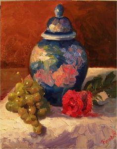 Ginger Jar and Green Grapes , 14x11, oil on linen, ginger jar, rose, red rose, green grapes, still life, ceramic jar, impressionist art, palette knife, painting by artist Maryanne Jacobsen