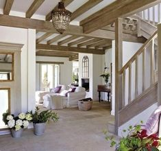 outstanding 36 Bright White Living Room with Exposed Wood Ceiling Beams Style At Home, Living Area, Living Spaces, Living Room, Ceiling Beams, Beamed Ceilings, House Ceiling, Home Fashion, Great Rooms