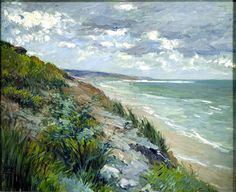 Gustave Caillebotte_Cliffs-by-the-sea-at-trouville. Gustave Caillebotte 19 August 1848 – 21 February 1894) was a French painter, member and patron of the group of artists known as Impressionists, though he painted in a much more realistic manner than many other artists in the group. Caillebotte was noted for his early interest in photography as an art form. (Wikipedia)