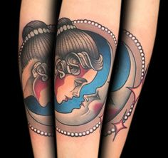 Portrait and the moon by tattoo artist Myra Brodsky.
