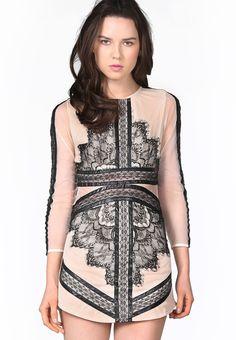 { Black Long Sleeve Contrast Eyelash Lace Mesh Pencil Dress }