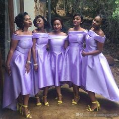 Group High Low Bridesmaid Dresses Off The Shoulder Women Weding Party Dress Formal Gowns abito damigella Hi Low Bridesmaid Dresses, 2 Piece Bridesmaid Dress, Bridesmaids, Event Dresses, Wedding Party Dresses, Maid Of Honour Dresses, Unique Dresses, Short Dresses, Formal Gowns