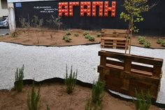DIY pocket park with traffic cones installation in Athens dedicated to Sophocles (father of Greek Tragedy) by Atenistas