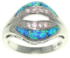 Jewelry Trends Sterling Silver Created Blue Opal and Clear Pave CZ Dome Ring Size 8 -- Check this awesome product by going to the link at the image.