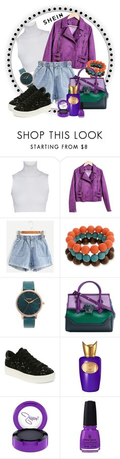 """""""Purple leather jacket and denim shorts"""" by martinian ❤ liked on Polyvore featuring Erica Lyons, Nixon, Versace, Luxury Rebel, Sospiro and MAC Cosmetics"""