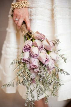 replace roses with lilacs and use cedar behind! and use twine to tie together like making hemp necklaces- that square knot technique