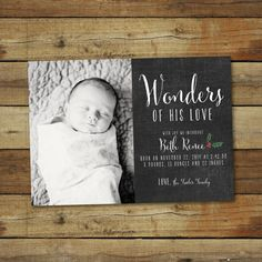 Wonders of His Love . . . this holiday birth announcement is the perfect way to introduce your new little one this holiday season! All wording