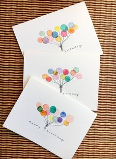 Hand painted Birthday card set Set of watercolor Happy Birthday Cards Handmade, Creative Birthday Cards, Happy Birthday Signs, Simple Birthday Cards, Homemade Birthday Cards, Birthday Cards For Friends, Bday Cards, Homemade Cards, Diy Handmade Cards