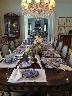Setting A Blue And White Table