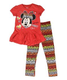 Look what I found on #zulily! Red Minnie Mouse Dress & Geometric Leggings - Toddler #zulilyfinds
