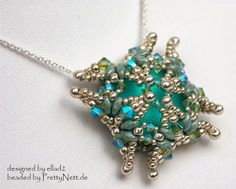 Pendant Luna Square - beaded by PrettyNett.de
