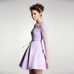 Spring New High Waist Pleated Lace Splicing Long Sleeve Dresses