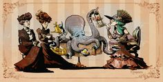 "One of Brian Kesinger's tea girls!! made with TEA!! ""Tea time with otto"" by *BrianKesinger on deviantART"
