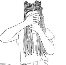 Image result for girl drawing black and white