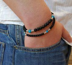 Handmade Matte Black Onyx Turquoise Beaded BRACELET Lava Rock 4MM 6MM 1SET | eBay