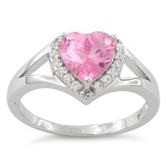 Sterling Silver Heart Shape Pink CZ #Ring * $8.02