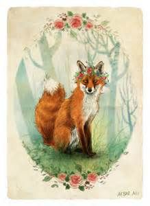 53 Ideas For Flowers Crown Drawing Red Flower Crown Drawing, Drawing Flowers, Fuchs Baby, Fantastic Fox, Art Tumblr, Fox Spirit, Anne With An E, Fox Illustration, Fox Tattoo