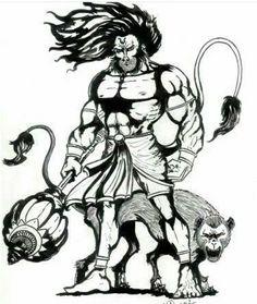 e618e53a3423d Hanuman Tattoo, Hanuman Chalisa, Shiva Tattoo, Shiva Art, Shiva Shakti, Lord
