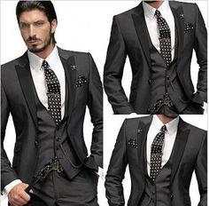 2017 Custom Made Slim Fit One Button Groom Tuxedos Peak Lapel Best Man Suit Groomsman Business Suit Men Suit Fashion Jacket+Pants+Tie From Romanticweddinggown, $54.59   Dhgate.Com