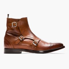 (213) Fancy - Brown Leather Brogued Monk-Strap Boots by Alexander McQueen