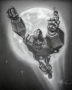 The Iron Giant my son loves this movie! Best Cartoons Ever, 90s Cartoons, The Iron Giant, Best Movie Posters, Shadow Art, Robot Design, Character Design References, Future Tattoos, Disney And Dreamworks