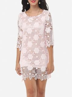 Round Neck Lace Shift Dress - fashionme.com