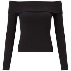 Miss Selfridge Black Fold Over Bardot Top ($27) ❤ liked on Polyvore featuring tops, black, miss selfridge tops, miss selfridge and long sleeve tops