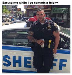 New York Sheriff's deputy Miguel Pimentel inundated with female attention Hot Cops, Big Legs, Hard Men, Men In Uniform, Cop Uniform, Raining Men, Military Men, Bearded Men, Gorgeous Men
