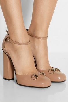 Heel measures approximately 105mm/ 4 inches Antique-rose leather Buckle-fastening ankle strap Designer color: Winter Rose