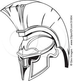 Spartan helmet design with crest.
