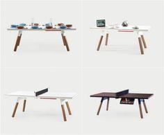 Ein Esstisch, der gleichzeitig einen Arbeitstisch und Tischtennisplatte ist